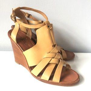 Pour La Victoire Nude Wooden Wedge Sandals